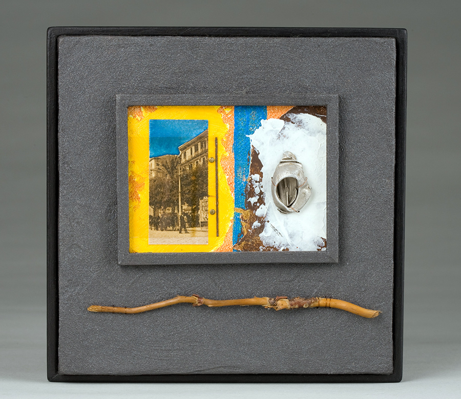 """Walking With Mussolini, 8"""" x 8"""", paint, wood, found objects"""