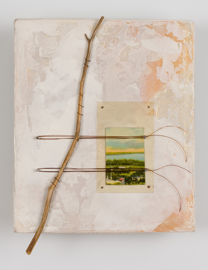 """Wayfarer, 6"""" x 5"""", paint, wood, wire, found objects"""