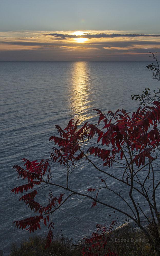 Sunrise over Lake Michigan. Lion's Den Gorge Nature Preserve.