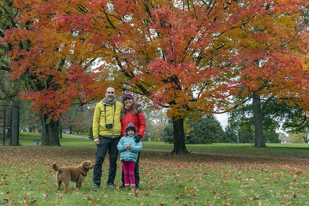 A chance meeting of a colorful family in colorful Kern Park