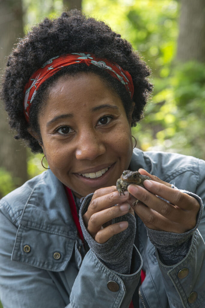 Sierra Taliaferro, with a toad, recently contributed two stories to The Natural Realm.