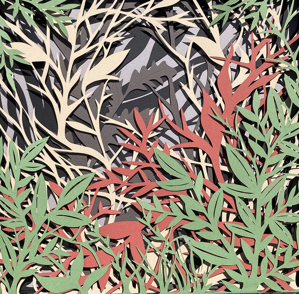 Absorbing Nature, a paper cut collage by Kelly Alexander