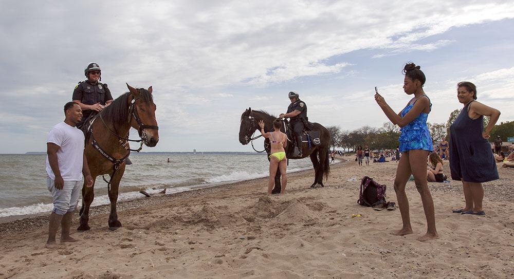 Equestrian patrol attracts attention at Bradford Beach