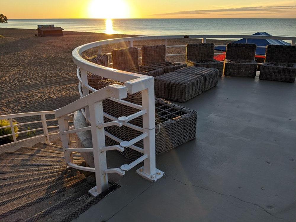 Bradford Beach Pavilion upper deck at sunrise.
