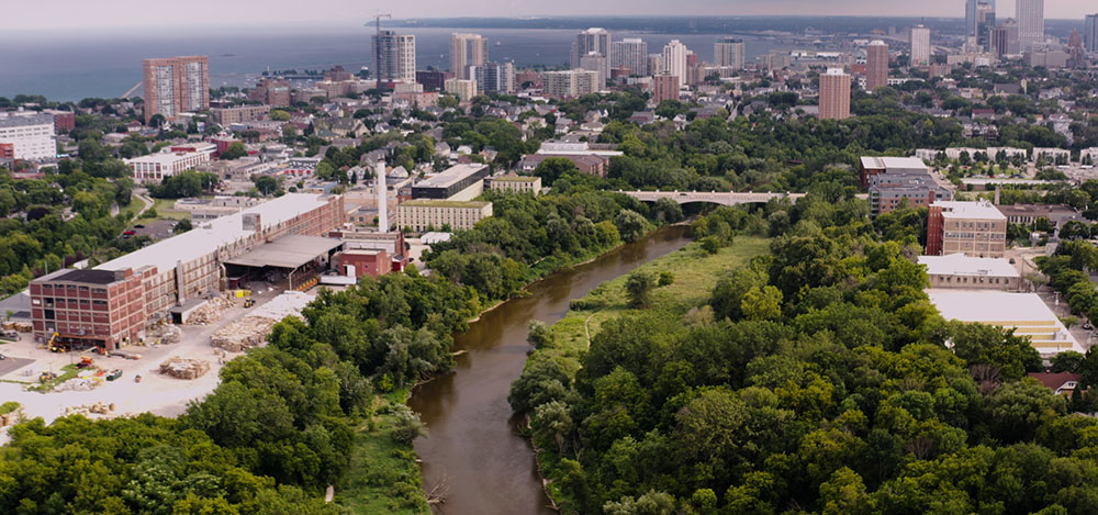 aerial view of Milwaukee River Greenway