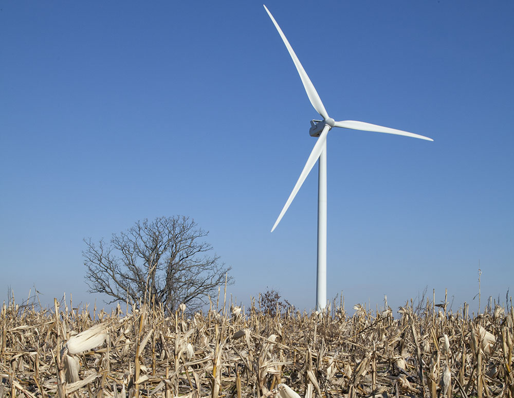 Wind turbine in Wisconsin, a renewable source of energy.