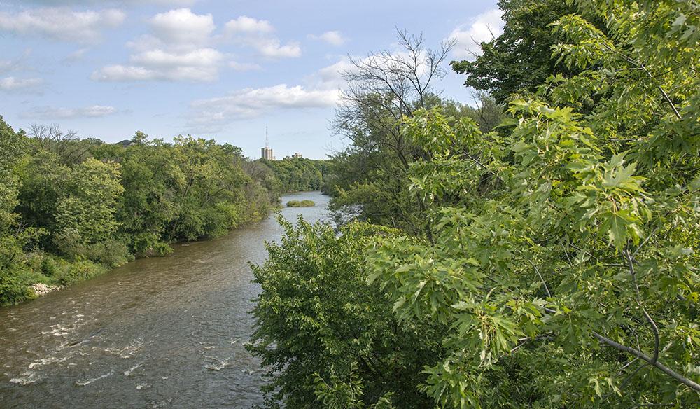 The Milwaukee River Greenway, which is Minowakii-ziibi-ozhawaashko-miikan in Ojibwe.