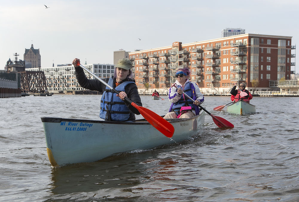 """Public Allies, Catie and """"Buttons,"""" reaching the mouth of the Milwaukee River at the Inner Harbor."""