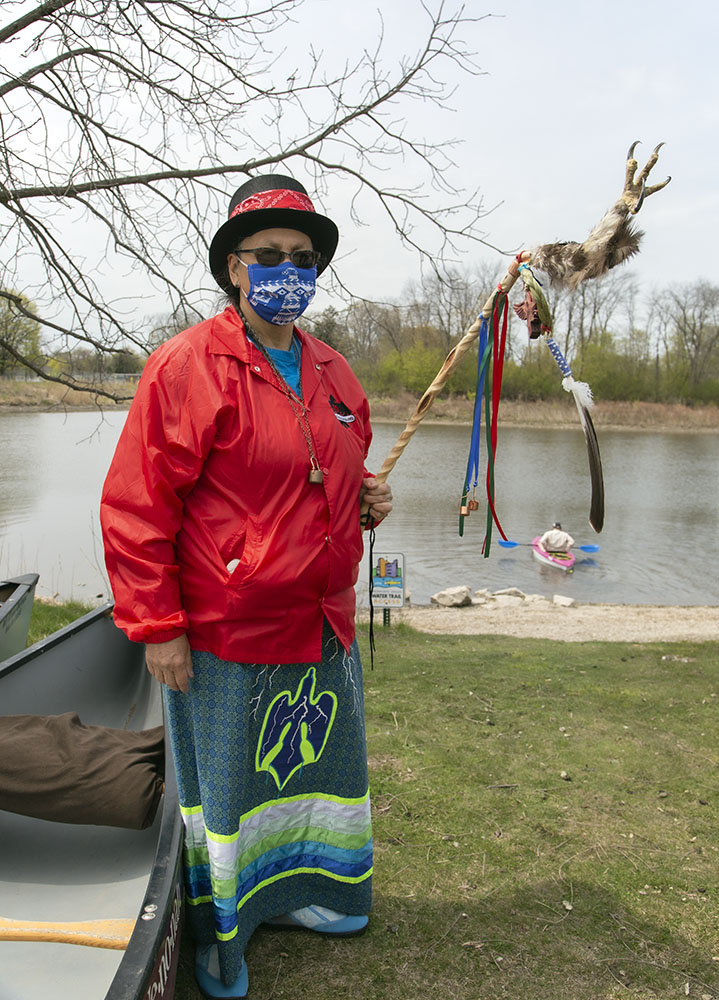 Jwin Zillier, of the Eagle Clan, carries an eagle talon staff as a Water Protector.