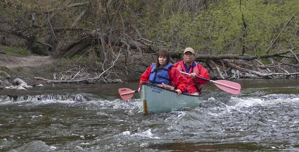 Siobhan and Mark negotiate the Schlitz dam.