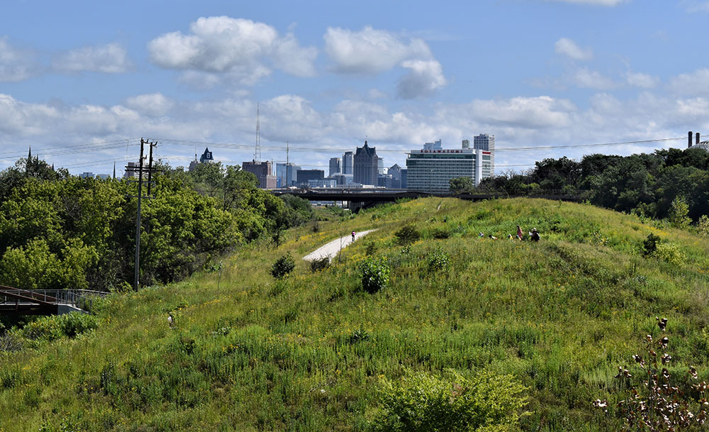 A view towards the skyline of downtown Milwaukee from the park.