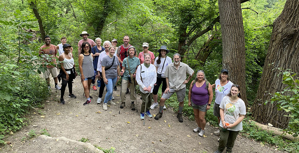 A group of Meetup.com hikers in the Milwaukee River Greenway