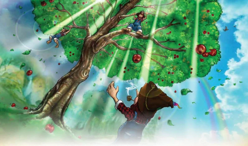 Drawing of Wyile Leprechauns harvesting red apples from a tall tree