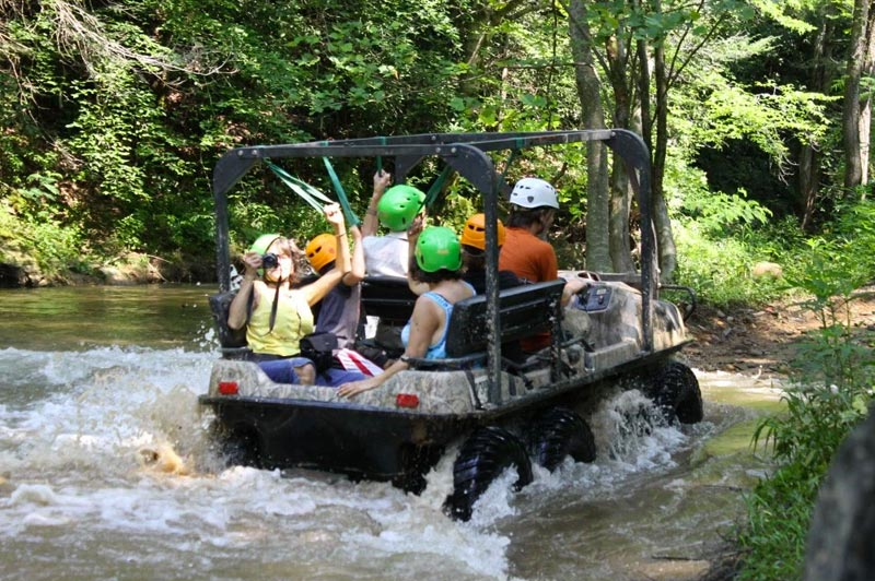riding the bear crawler up the river at Foxfire Mountain
