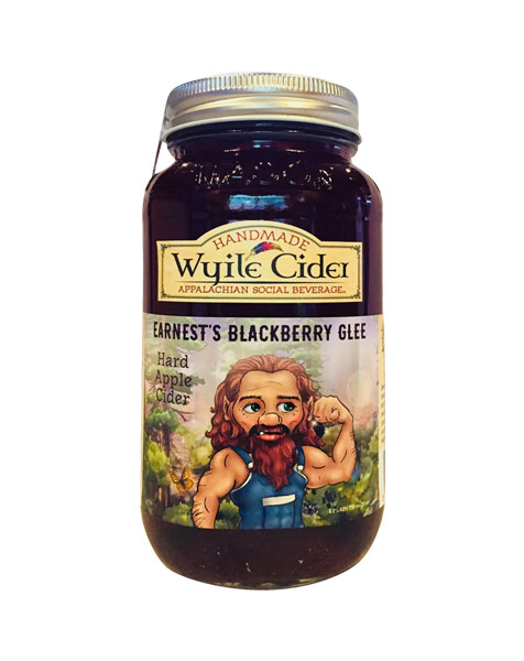 Mason jar of blackberry hard cider from Wyile Cider