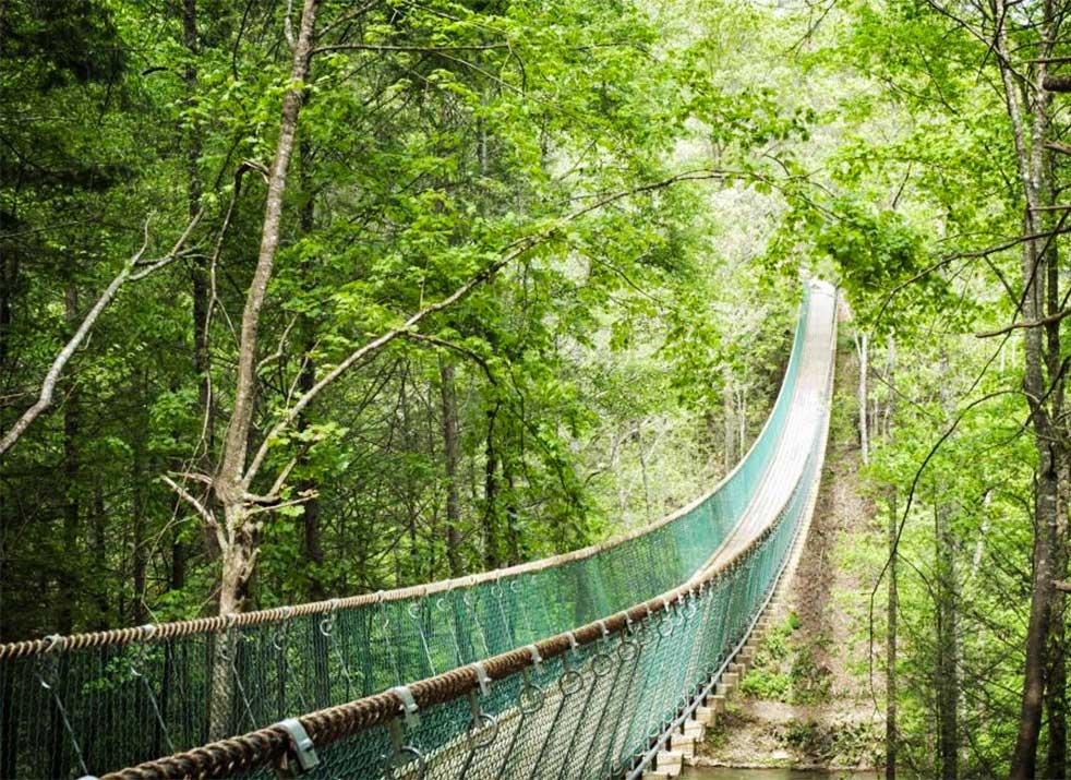 bridge to prosperity - America's longest swinging bridge - at Foxfire mountain