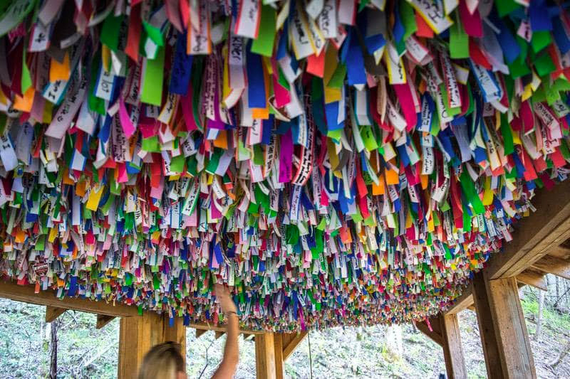 colorful ribbons at Foxfire Mountain
