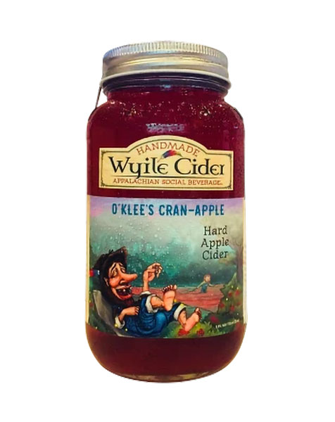 mason jar of cranberry apple hard cider from Wyile Cider