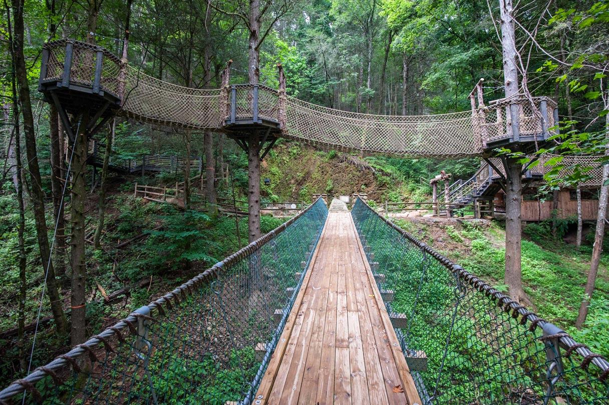 Bridges and Catwalks at Foxfire Mountain adventure park