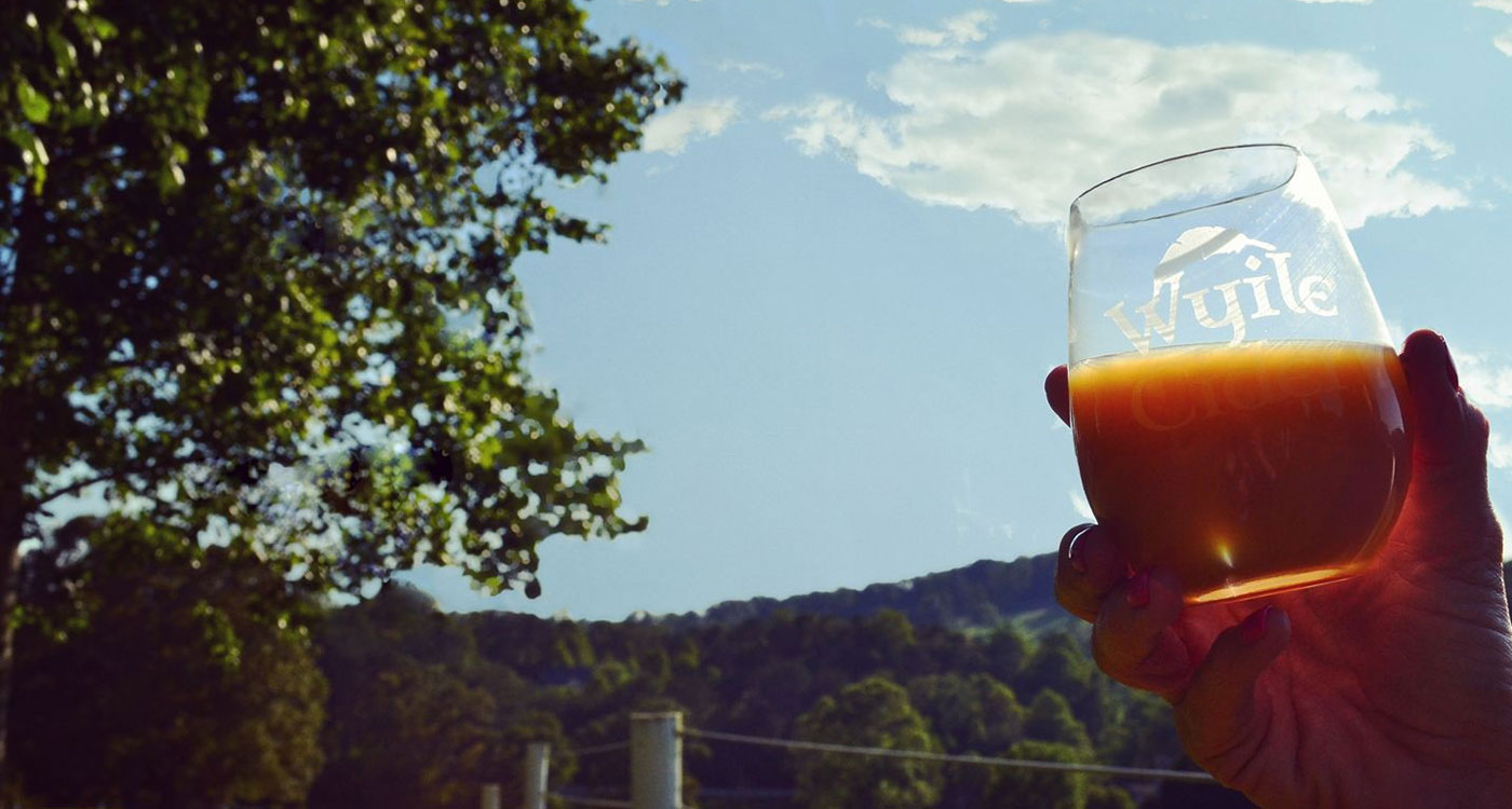 hand holding a glass of Wyile Cider in the sky at Wyile Cider House