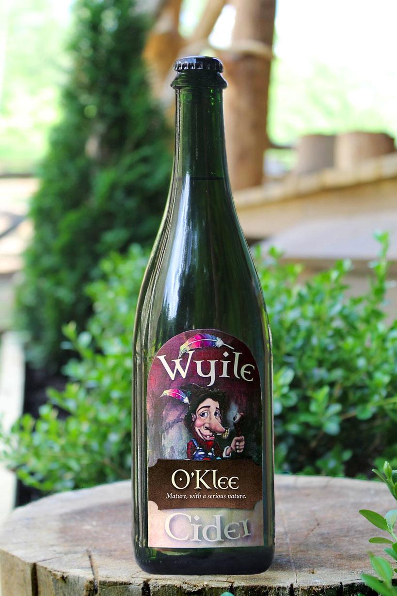Bottle of Oklee sparkling cider on a stump