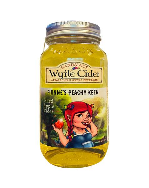 mason jar of peach hard cider from Wyile Cider