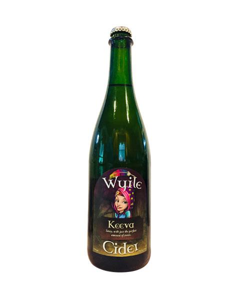 bottle of sparkling sweet hard cider from Wyile Cider