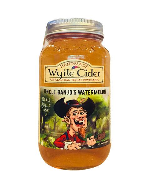 mason jar of watermelon cider from Wyile Cider