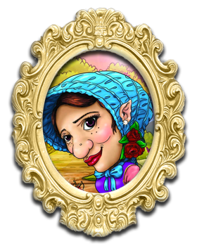 Drawing of Ilus of the Wyile Cider clan wearing a bright blue bonnet with purple and pink dress
