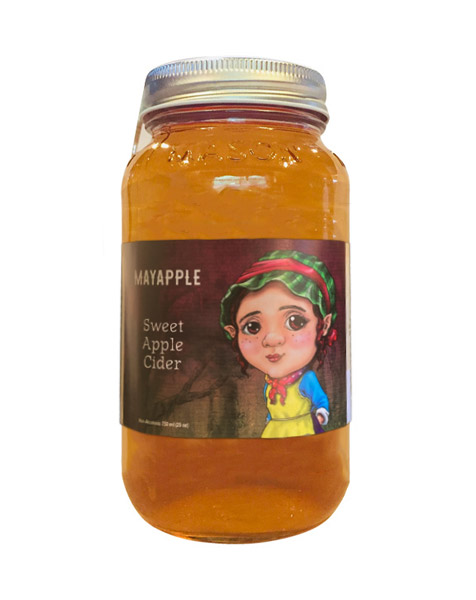 mason jar of mayapple soft non-alcoholic cider from Wyile Cider