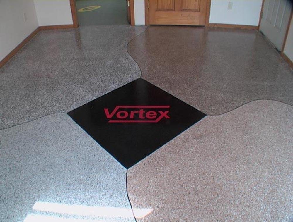 This floor photo has appeared in a lot of online places.  This floor was coated in 2005 in Green Bay, Wisconsin.
