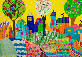 Free Images : table, village, pattern, color, garden, painting, coloring,  textile, illustration, design, mural, modern art, children's drawings,  psychedelic art, child art 3625x2516 - - 887571 - Free stock photos - PxHere