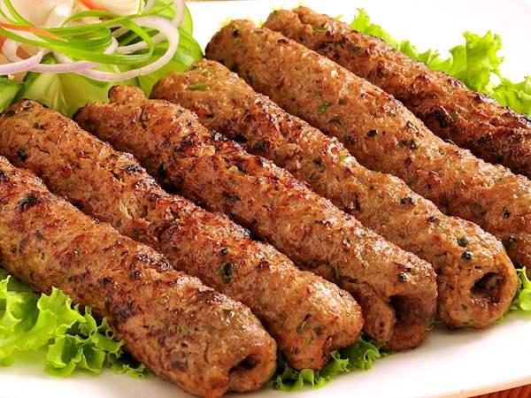 Silver Spoon's BBQ dish, Seekh Kebab with Onions & Salad