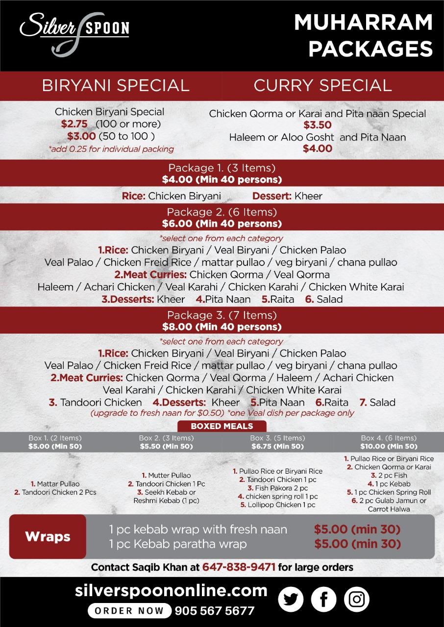 Silver Spoon Muharram packages. A menu that speaks volumes