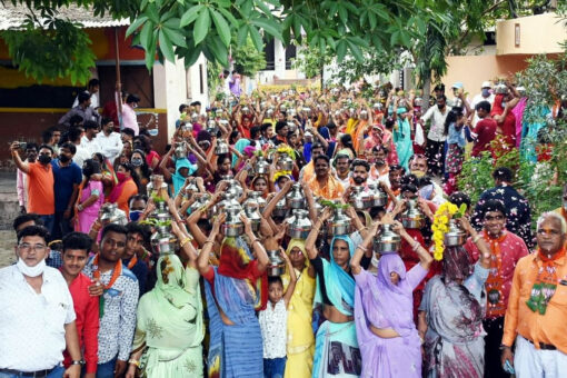 """Social distancing rules violated in Indore during """"Kalash Yatra"""""""