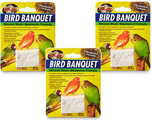 (3 Pack) Zoo Med Bird Banquet Mineral Blocks – Mealworm Formula – Small (1 Ounce Per Pack)
