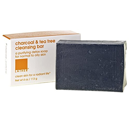 LATHER Charcoal & Tea Tree Cleaning Bar; 4 oz – A purifying detox soap for normal to oily skin.