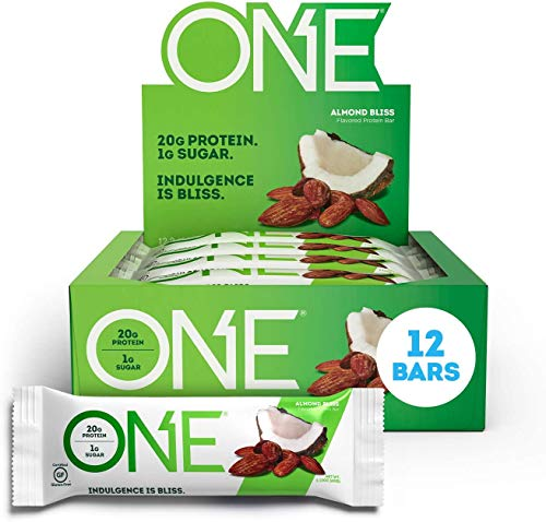 ONE Protein Bars, Almond Bliss, Gluten Free Protein Bars with 20g Protein and only 1g Sugar, Guilt-Free Snacking for High Protein Diets, 2.12 oz (12 Pack) Brand: ONE 1