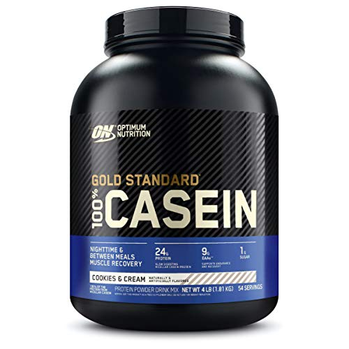 Optimum Nutrition Gold Standard 100% Micellar Casein Protein Powder, Slow Digesting, Helps Keep You Full, Overnight Muscle Recovery, Cookies and Cream, 4 Pound (Packaging May Vary)