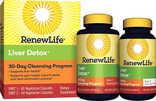 Renew Life Adult Cleanse – Liver Detox – 2-Part, 30-Day Program – Gluten & Dairy Free – 120 Vegetarian Capsules