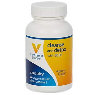 The Vitamin Shoppe Cleanse Detox with Acai Natural Cleansing Liver Support Blend, Promotes Intestinal Health Colon Care with Herbs Extracts (60 Veggie Capsules)