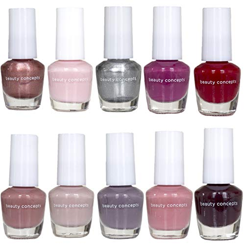 Beauty Concepts Fabulous Nails Mini Nail Polish Collection – Set of 10 Unique Shades of Matte and Shimmery Nail Polishes for Women and Girls