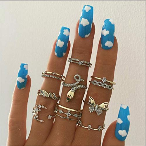 Boaccy Glossy Long Coffin Fake Nails Blue Press on Nails Clouds False Nails Full Cover Acrylic Nails for Women Girls