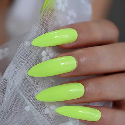 EDA LUXURY BEAUTY NEON YELLOW GLAMOROUS DESIGN Full Cover Press On Gel Glitter Artificial Nail Tips Acrylic Shiny Extreme False Nails Extra Long Pointed Pointy Almond Stiletto Super Fashion Fake Nails