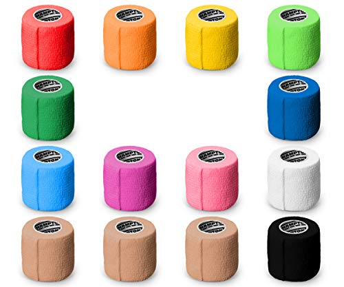 """(14-Pack) 2"""" x 15 FT   Self Adhesive Non Woven Bandage Wrap – Breathable Self Adherent Wrap for Pets – Athletic Elastic Cohesive Bandage for Sports Injury: Ankle, Knee & Wrist Sprains (Rainbow)"""