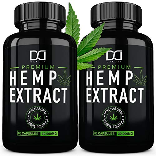 (2 Pack) Hemp Oil Capsules 30000MG for Pain Relief Anxiety Sleep Mood Immune – Best Natural Organic Hemp Seed Oil Powder Extract, Omega 3 6 9