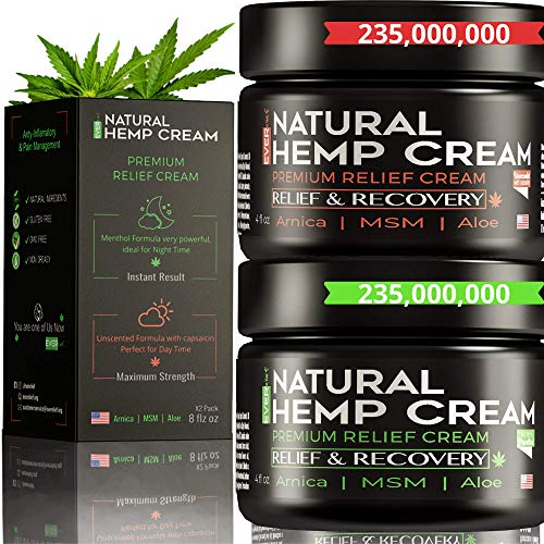 (2 Pack) Hemp Pain Relief Cream – Hemp Cream for Pain Relief and Inflammation   Relieves Knees, Joints & Back Muscle   Made in USA   Natural Hemp Oil Extract with MSM & Arnica   8oz