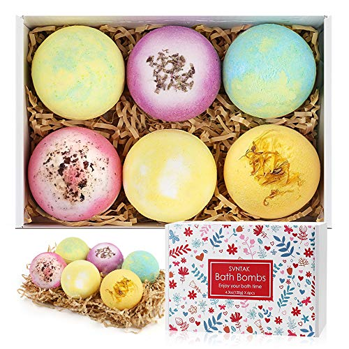 Bath Bombs Gift Set, SVNTAK Extra Large 6 Packs 4.3oz Bubble Bath Bomb Contains Essential Oils,Coconut Oil,Suitable for Children's Bubble Baths and hot Spring Baths ,Perfect Beauty Gift for Women
