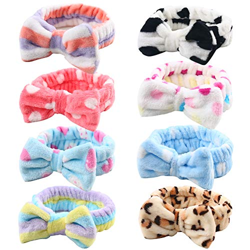 Bow Hair Band, Soft Coral Fleece Hairlace Headband Turban Bowknot Bow Makeup Shower Headbands Headwraps for Washing Face Shower Spa Mask, Multiple Styles, 8PCS