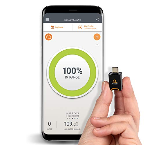 Dario Blood Glucose Monitor Kit Test Your Blood Sugar Levels and Estimate A1c. Kit Includes: Glucose-Meter with 25 Strips,10 Sterile lancets and 10 Disposable Covers (Android USB-C)